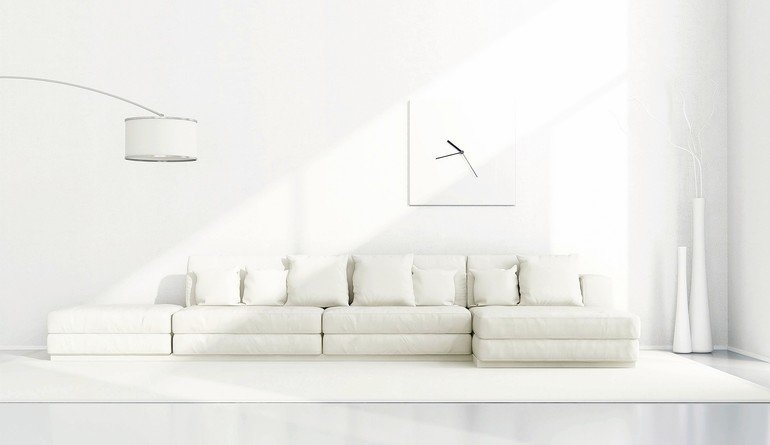 White_minimalist_living_room_with_elegant_sofa,floor_lamp_and_clock_-_3D_Rendering
