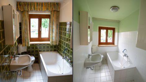 Ein deutlicher Unterschied: Vorher 70er-Jahre Fliesenoptik, nachher ein helles, modernes Badezimmer. Foto: Adler