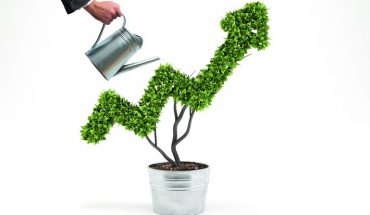Businessman_watering_a_plant_that_grows_like_an_arrow_._3D_Rendering