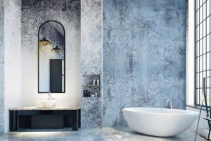 Modern_loft_bathroom_interior_with_appliances,_city_view_and_empty_copyspace_on_concrete_wall._Mock_up,_3D_Rendering_