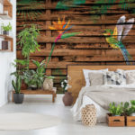 Real_photo_of_a_botanical_bedroom_interior_with_wooden_shelves,_tables,_double_bed,_plants_and_empty_wall_next_to_a_window_with_blinds._Place_your_painting
