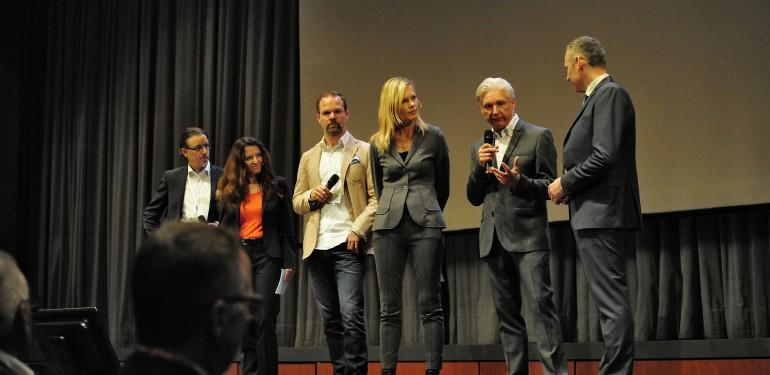 Nina Ruge mit den Veranstaltern und Referenten in der Gesprächsrunde. Foto: Daniel Baldus.