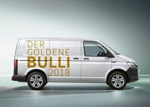 Der 1. Preis der Benefiz-Aktion DER GOLDENE BULLI von Volkswagen Nutzfahrzeuge ist ein neuer T6 Transporter. Foto: VWN